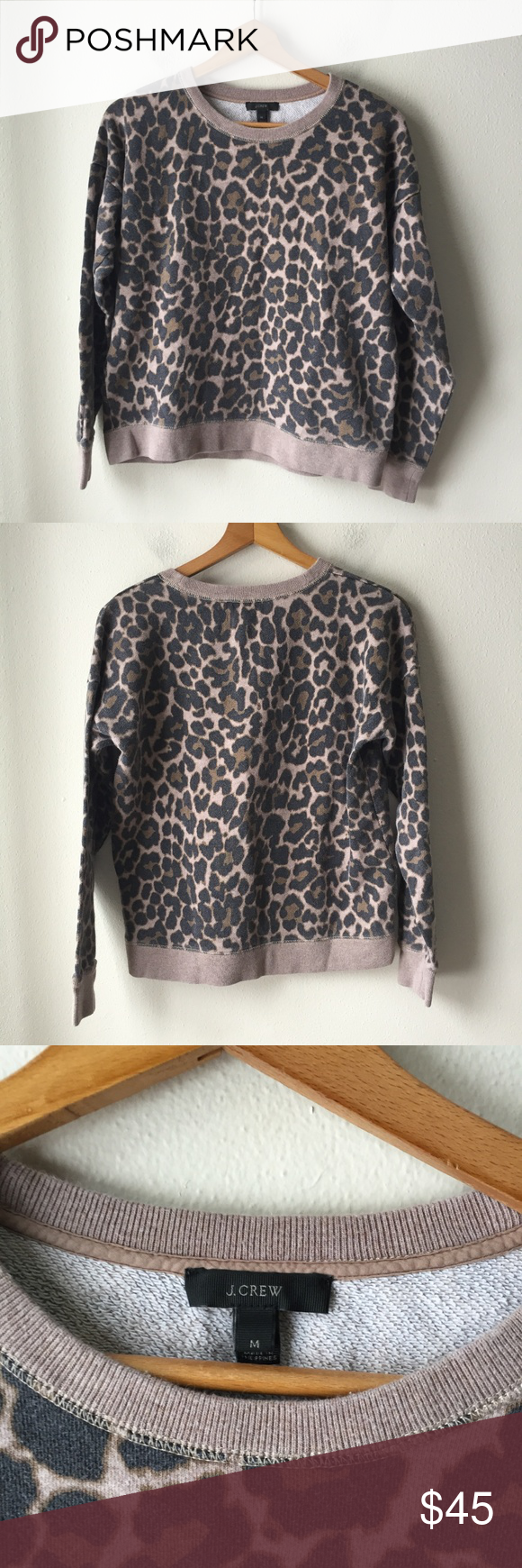 J Crew Crewneck Sweatshirt In Leopard Print Crew Neck Sweatshirt Leopard Print Sweatshirts [ 1740 x 580 Pixel ]