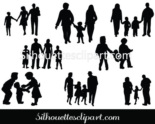 family silhouette vector graphics download family vectors