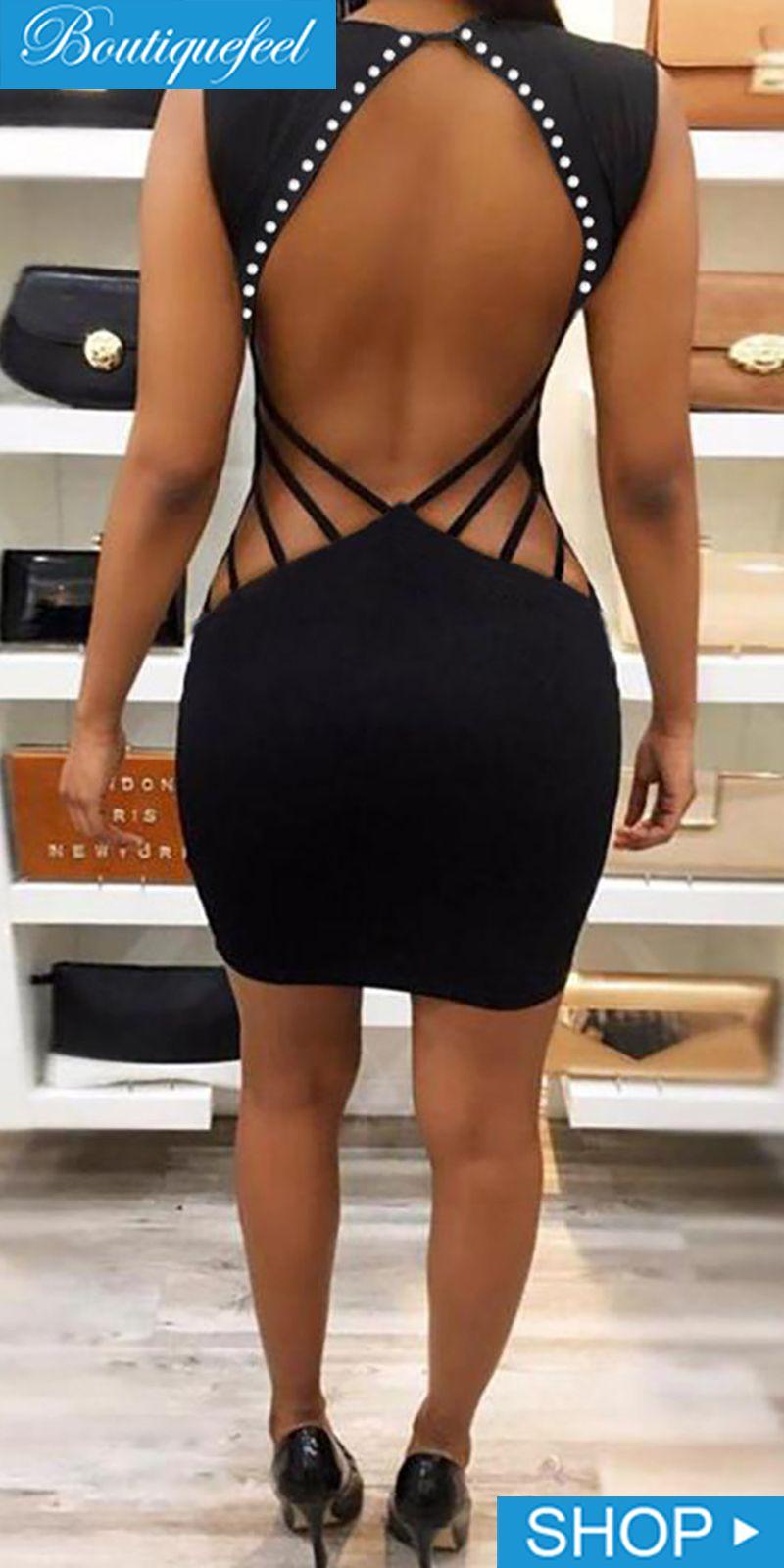 Plunge Open Back Rivet Design Bodycon Dress is part of Dresses -