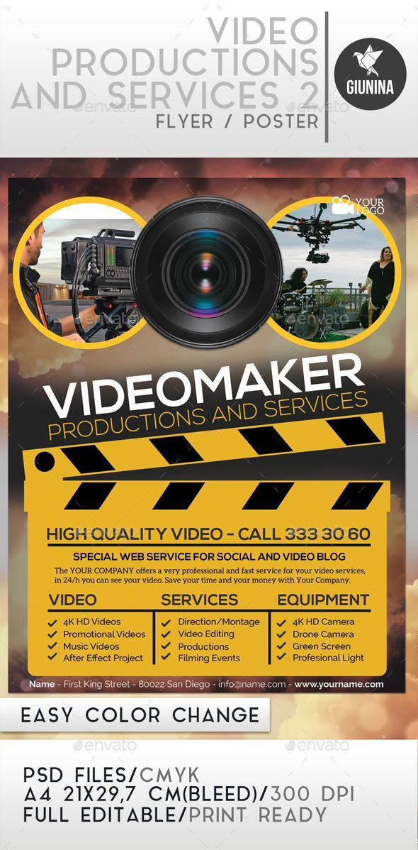 Video Production And Services 2 Flyer/Poster. Print