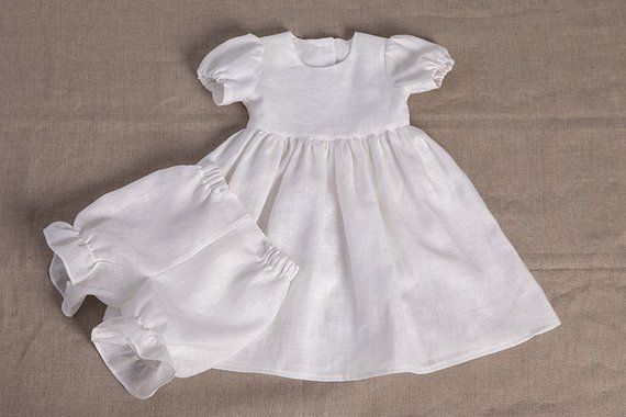 ab009371a3a Baby girl baptism dress girl white linen dress special occasion wedding  party flower girl dress bles