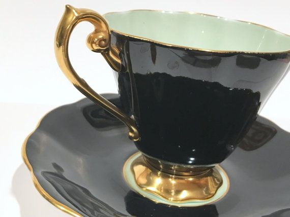 Royal Standard Tea Cup and Saucer, Tea Set, Black Green Cups, Antique Teacups…