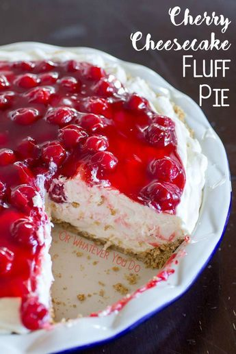 No Bake Cherry Cheesecake Fluff Pie is a sweet, light, and airy mix of whipped cream, marshmallows, cream cheese, and pudding. No bake desserts are such an easy treat to throw together! Top with your favorite pie filling or a big pile of fresh fruit.
