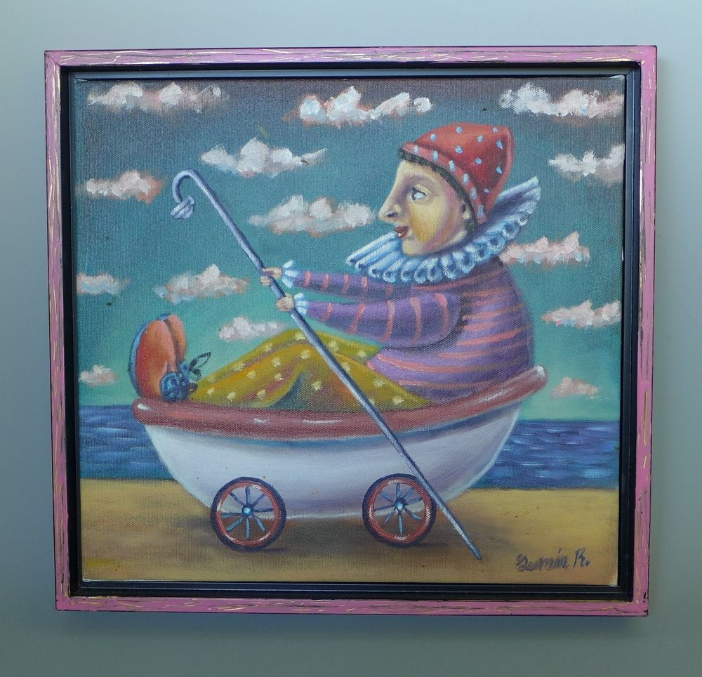 Mexican framed painting art jester in bathtub acrylic on paper by ...