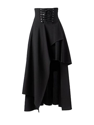 Bandage Waist Asymmetric Cut Black Maxi Skirt - Lace up waist.