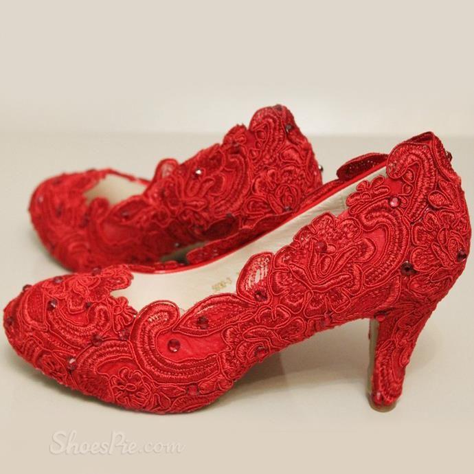 Fashion Red Lace Rhinestones Wedding Shoes