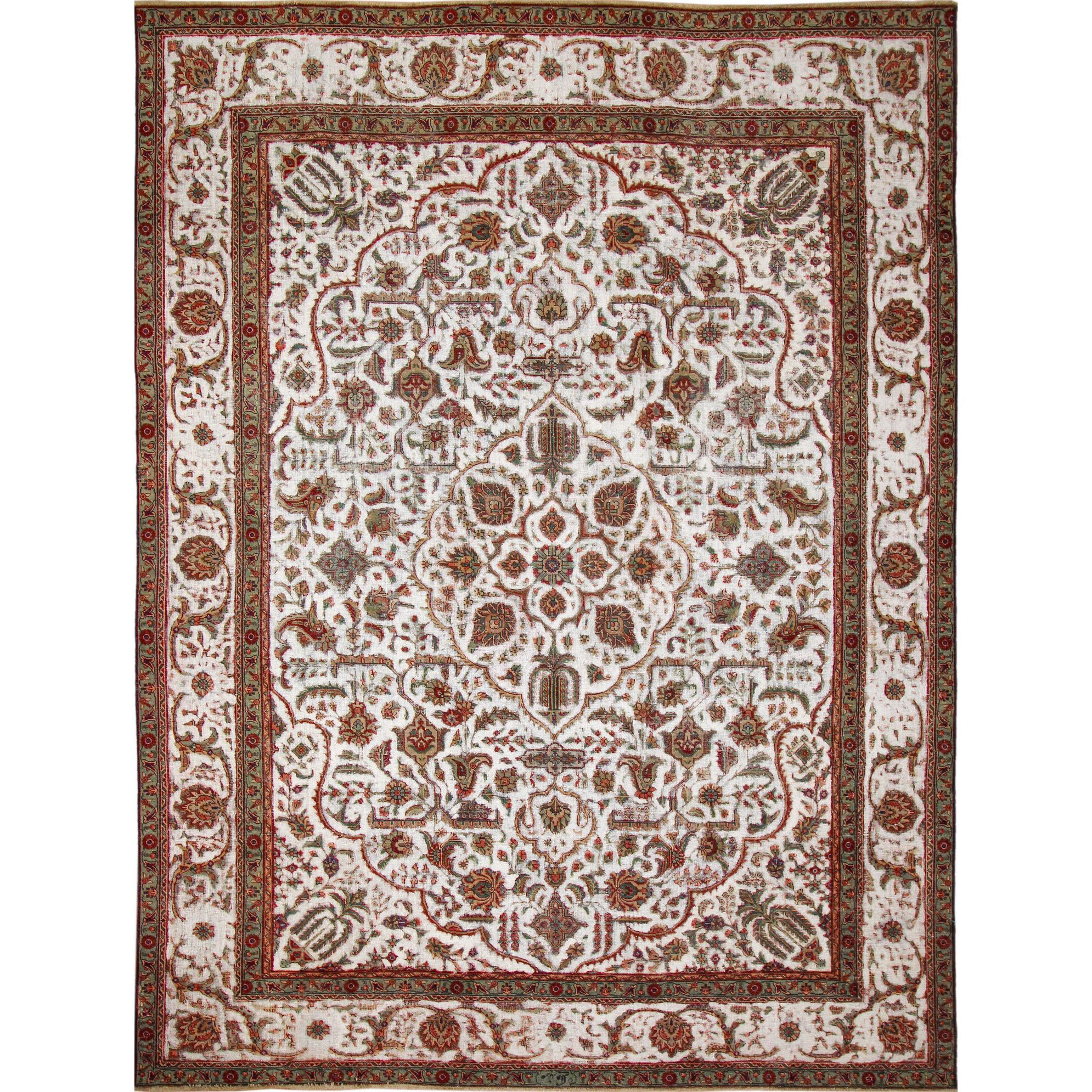 Distressed Dayne Ivory Hand Knotted Rug 9 5 X 12 Ping The Best Deals On One Of A Kind Rugs