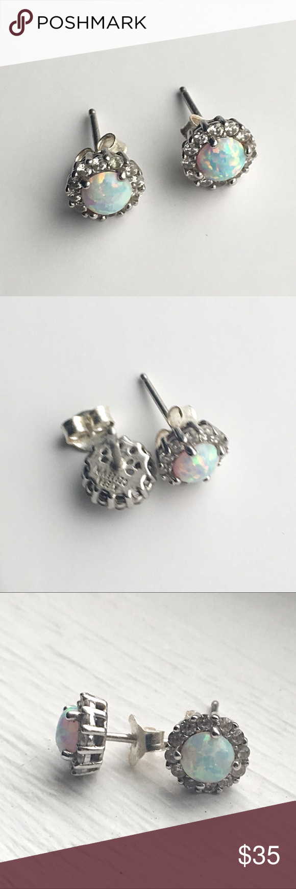 Kiera Couture Sterling Silver Opal And Cz Studs Feature Brand Stamp 925 Opals Surrounded By A