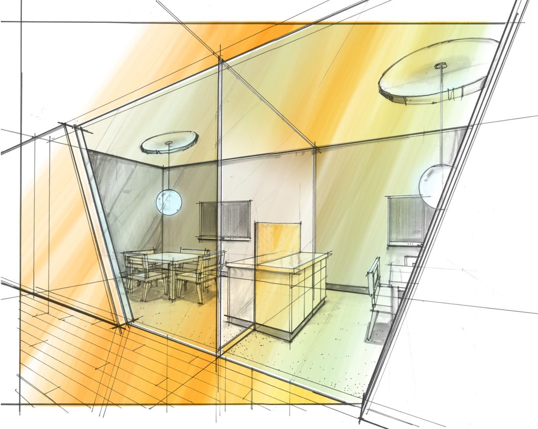 Living room Interior design sketches, Interior design