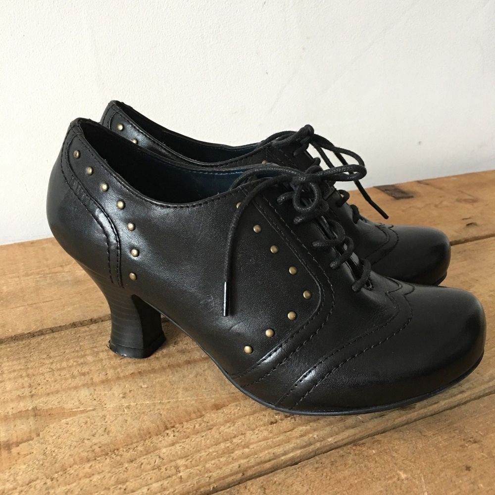 Uk 3 Womens Hush Puppies Edith Black Leather Victorian Steampunk Vintage Style Hushpuppies Victoriansteampu Vintage Fashion Victorian Steampunk Black Leather