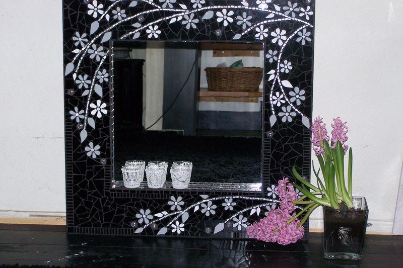 Mosaic Mirror Black Silver White Mosaic Frames