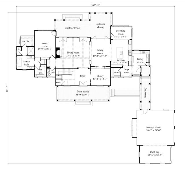 Cedar River Farmhouse Plan SL1954 MainFloor Family studio & drop