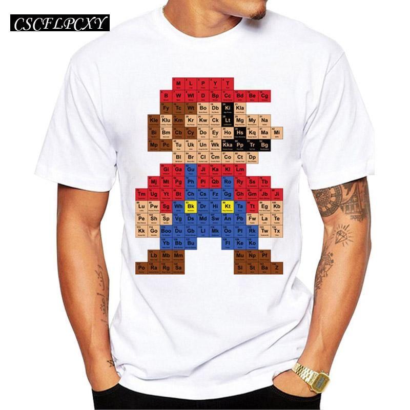931cd720e 2017 Men Fashion T shirt Hipster Printed Tee Shirts Short Sleeve Tops Super  Mario periodic table