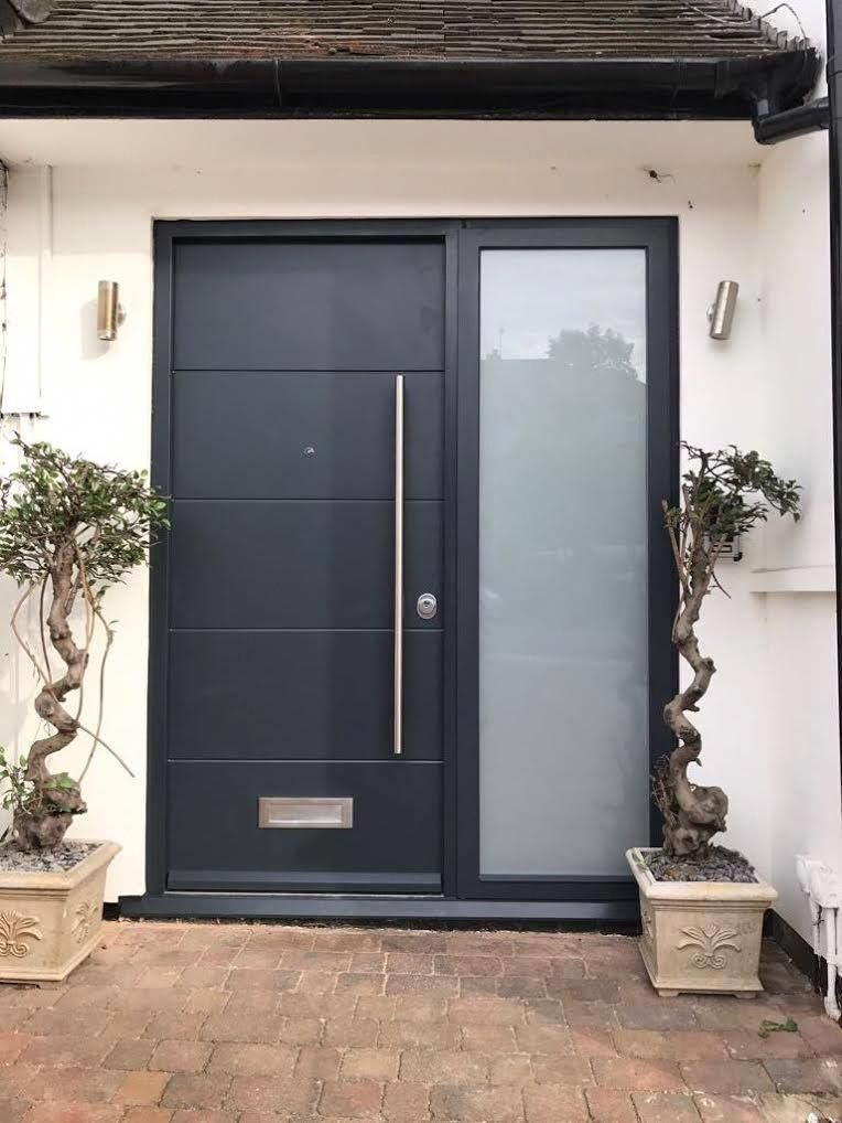 Modern Front Entrance Door With Side Panel All Our Doors Have Double Laminate Sledgehammer Pro Contemporary Front Doors Entrance Door Design Modern Front Door