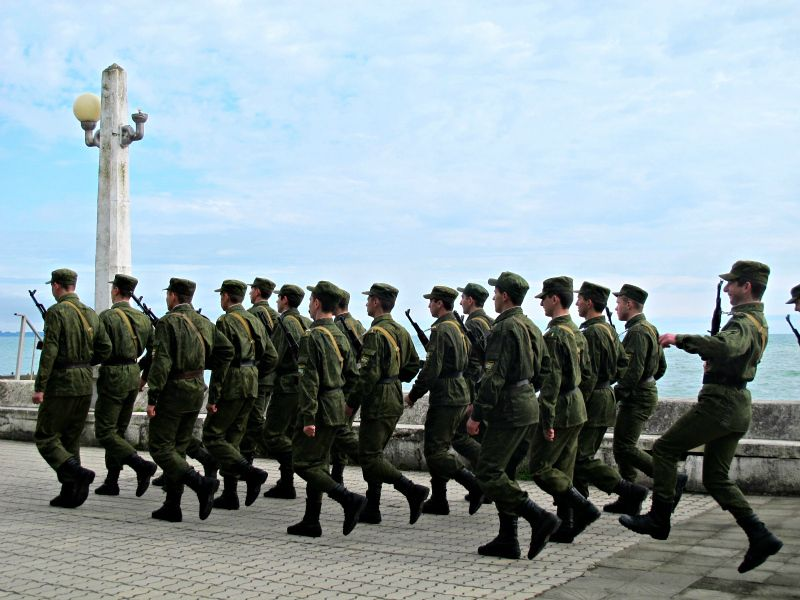 Military marching in Sukhum, Abkhazia