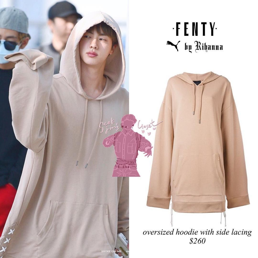 Very Requested Jin Is Wearing Puma Fenty By Rihanna Oversized Hoodie With Side Lacing Pric Gaya Model Pakaian Korea Gaya Model Pakaian Model Pakaian