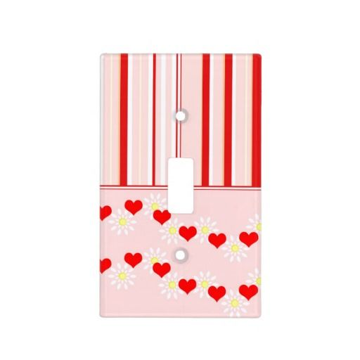 Love Me - Light switch cover - A design of hearts, stripes and flowers; the option to personalize is available on zazzle.com