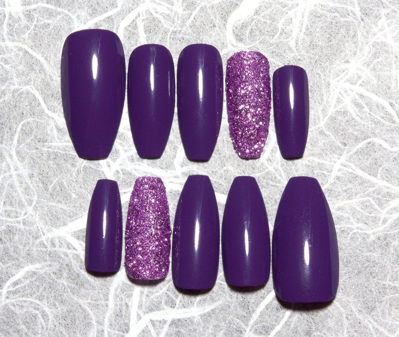 Glitter fake nails. Purple coffin nails with purple glitter accent ...