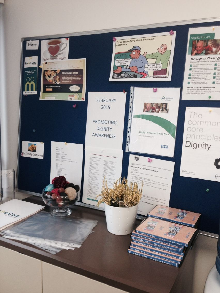 Dignity information board at the office February 2015