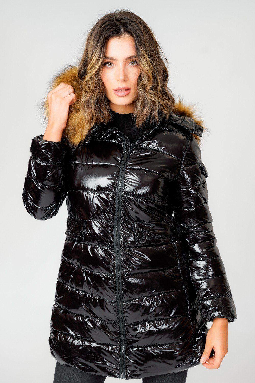 L S Shiny Black Long Puffer Coat With Natual Faux Fur Hood Love Sunshine Jacken Winterjacken Daunenjacke [ 1500 x 1000 Pixel ]