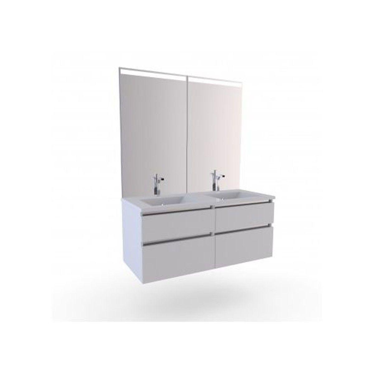 Meuble Salle de Bain à 20 Vasques Blanches  Meuble salle de bain