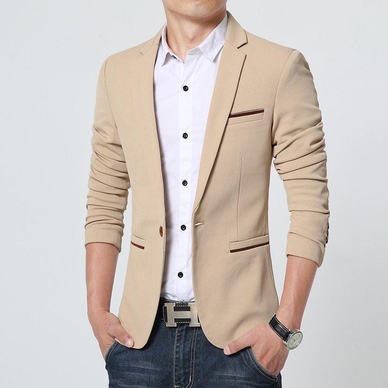 2015 l arrivée de nouveaux luxe hommes Blazer New Spring Fashion marque de  haute qualité coton Slim Fit hommes costume Terno Masculino Blazers hommes  dans ... 3a68ba1af9a