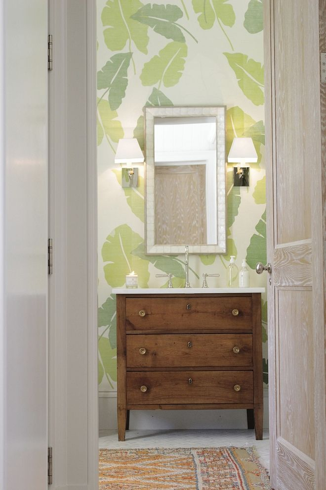 banana leaf wallpaper Powder Room banana leaf wallpaper