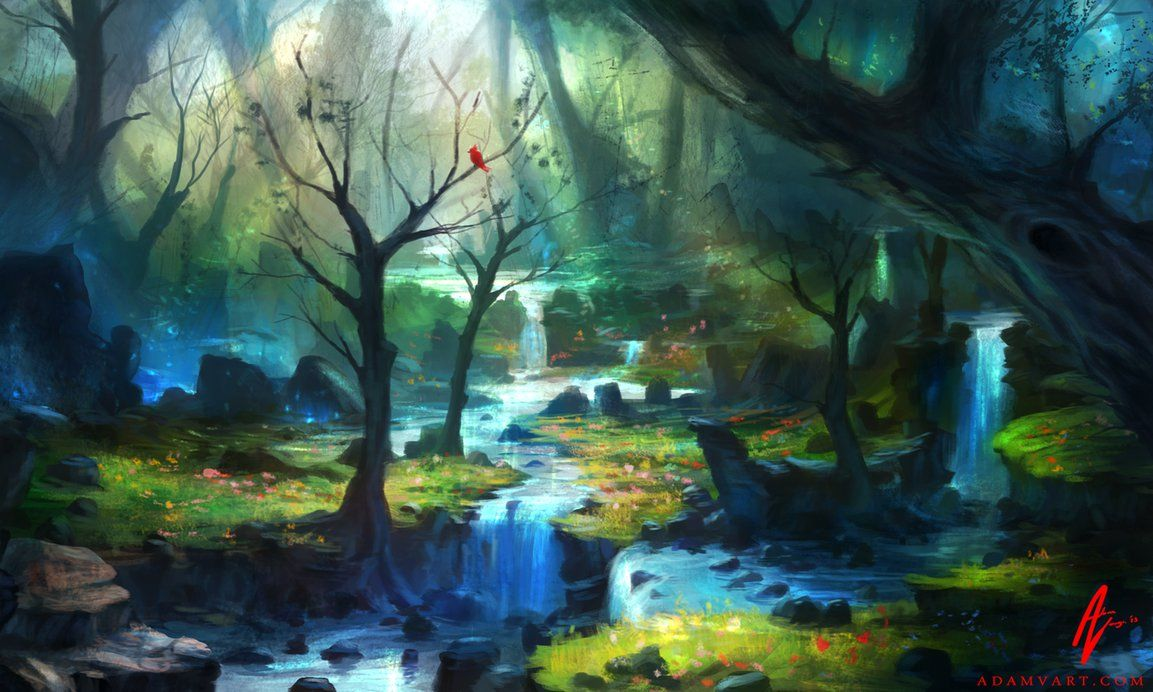 Enchanted magical forest enchanted forest by adimono on for Define mural painting