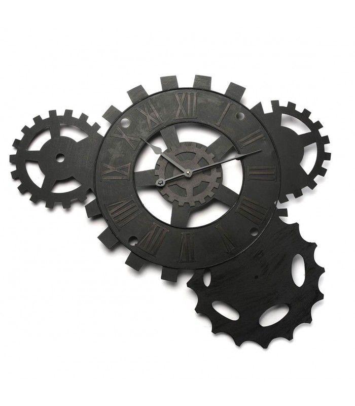 horloge murale rouage style industriel en métal noir vieilli