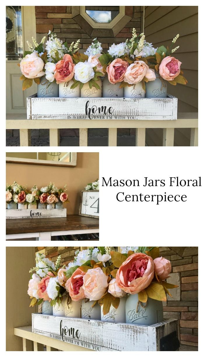 These floral mason jar centerpiece is so beautiful for bridalbaby