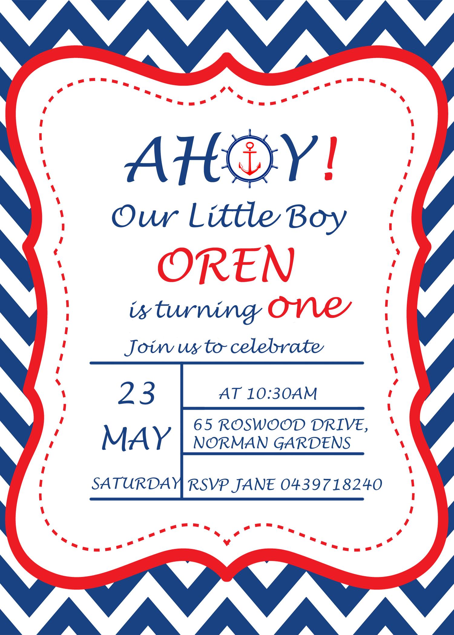 Navy Blue Red Nautical Girl Birthday Invitation on Etsy Shop