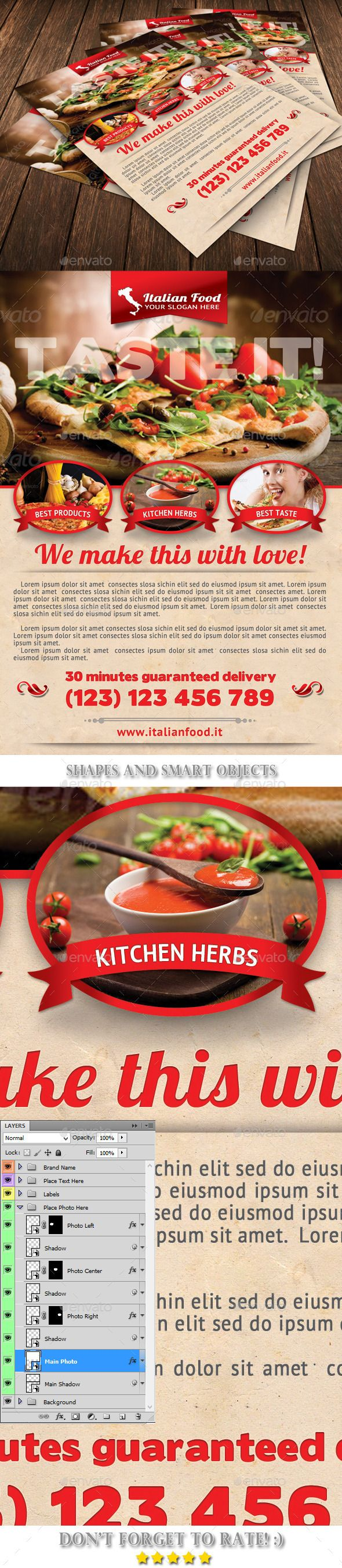 Italian Food Flyer Template   Flyer Template Template And Psd