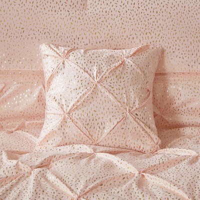 Blush Gold Melody Metallic Comforter Set Full Queen 5pc In