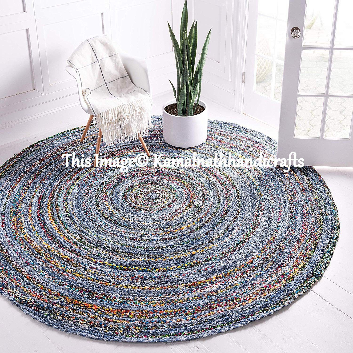 Hand Made Bohemian Braided Cotton Area Rug in Multi Color Chindi Round Carpet