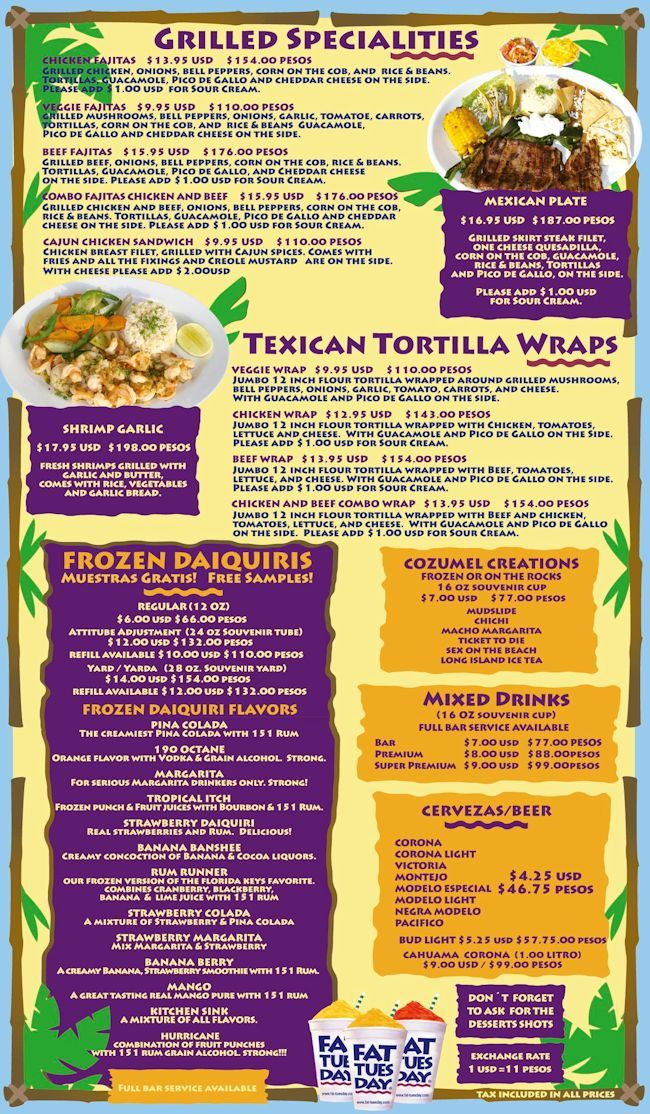 Side 2 Of The Menu At Fat Tuesday S Cozumel Cruise Pinterest Cozumel And Cruises