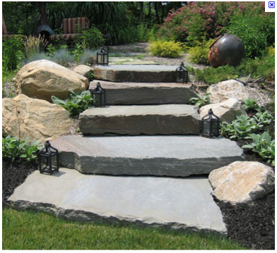 Stone Slab Steps Would Make With Concrete Then Chisel For Stone Look Landscape Stairs Garden Steps Garden Stairs