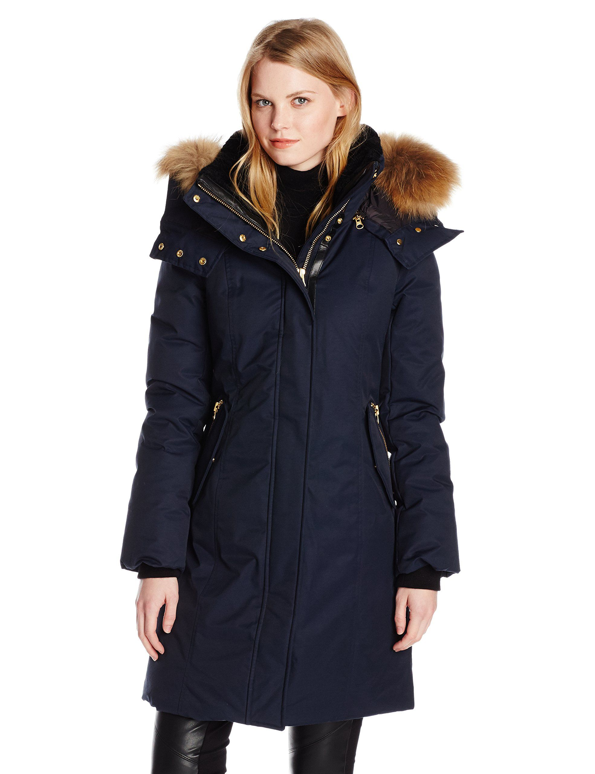 Mackage Women's Kerry Down Coat with Fur Hood at Amazon Women's Coats Shop  - Navy