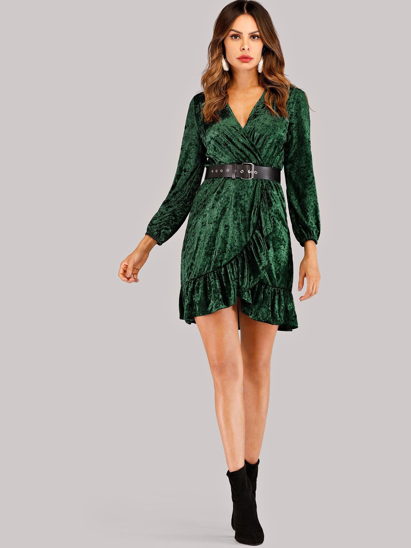 4c7a12c19c55 Elegant Wrap and Belted Plain Shift Trapeze V Neck Long Sleeve High Waist  Green Short Length Self Tie Waist Wrap Dress with Belt