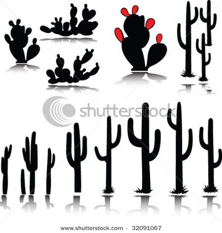 Cactus Vector Item 5 Cactus Silhouette Cactus Vector Plant Drawing