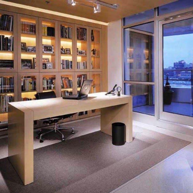 Desain Interior Ruang Kerja Lengkap Dengan Perpustakaan Pribadi