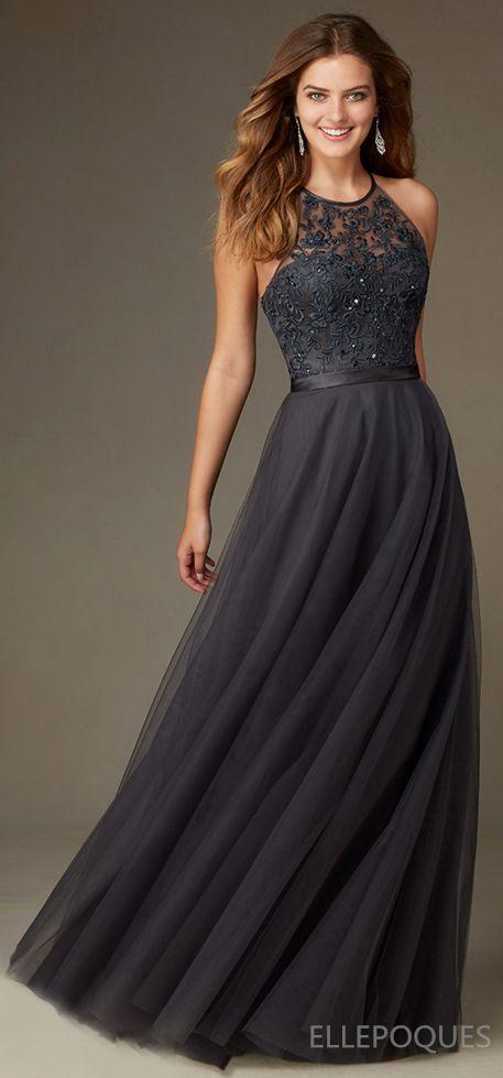 2016 Tulle Scoop Bridesmaid Dresses Floor Length vestidos/dresses