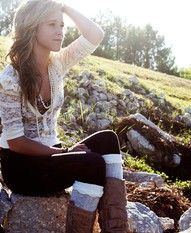 lacy cardigan w/ boots and leg warmers and pearls