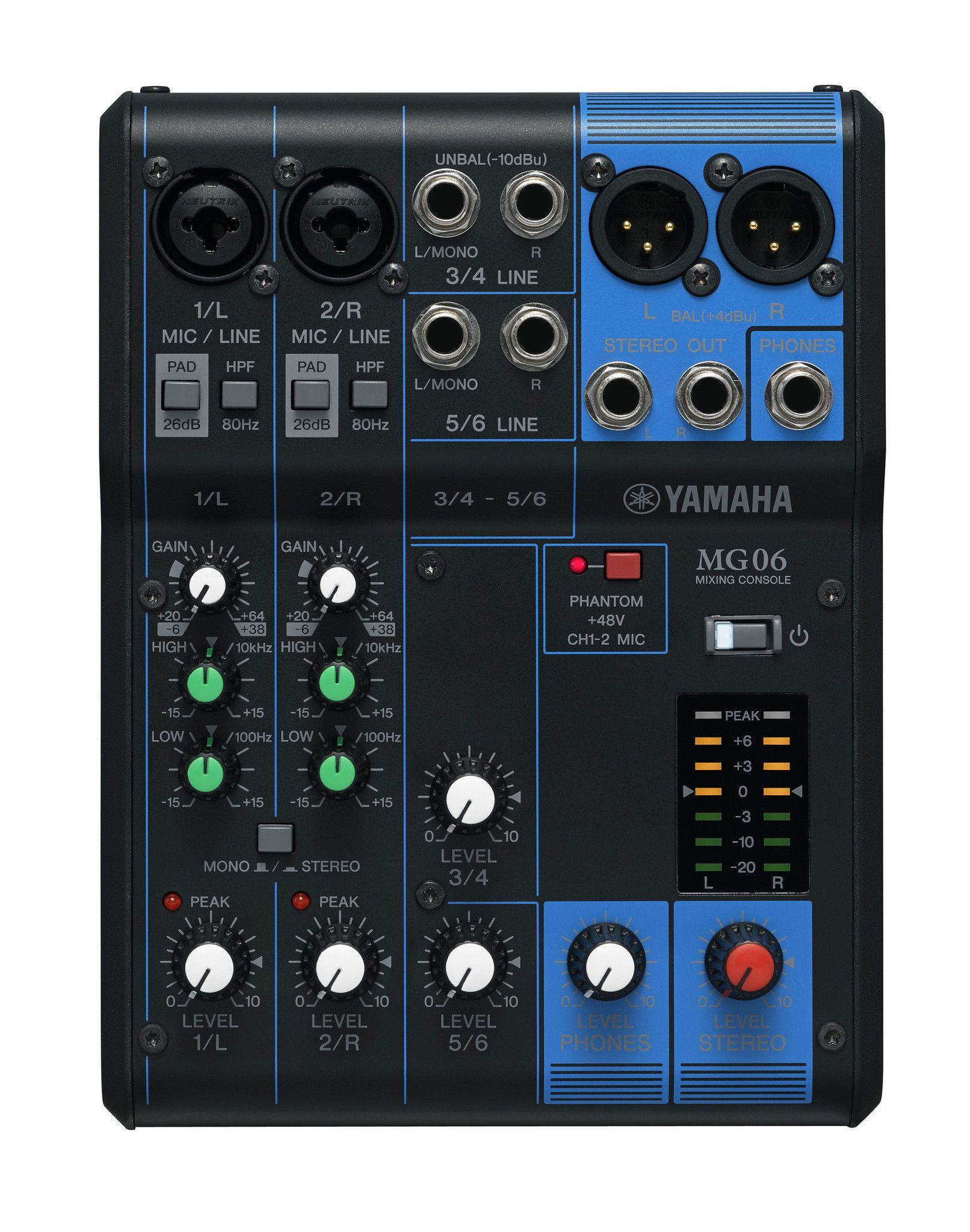 Yamaha MG06 6Channel Pro Audio Mixer Microfonos, Moños