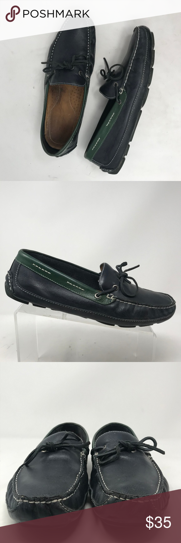 Bass Pisa Navy Blue Drivers Driving Mocs 11 M These are in excellent preowned condition with minor wear!  Please see all pictures as they are the best descriptors.  Brand: Bass Style: Loafers  Color: Navy Blue, Green Material: Leather Size: 11 Sole: 4-1/4