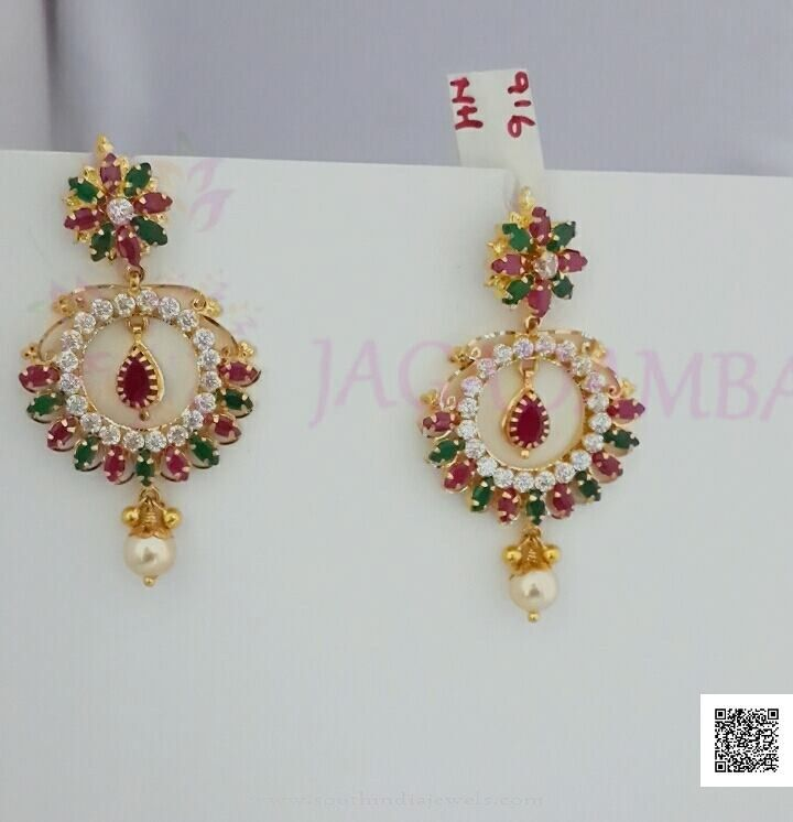 Gold Ruby Emerald Stone Earrings With Rubies And Emeralds Green Red Stones