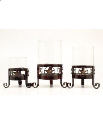 Western Moments Star Glass Candle Holder 3 Piece Set