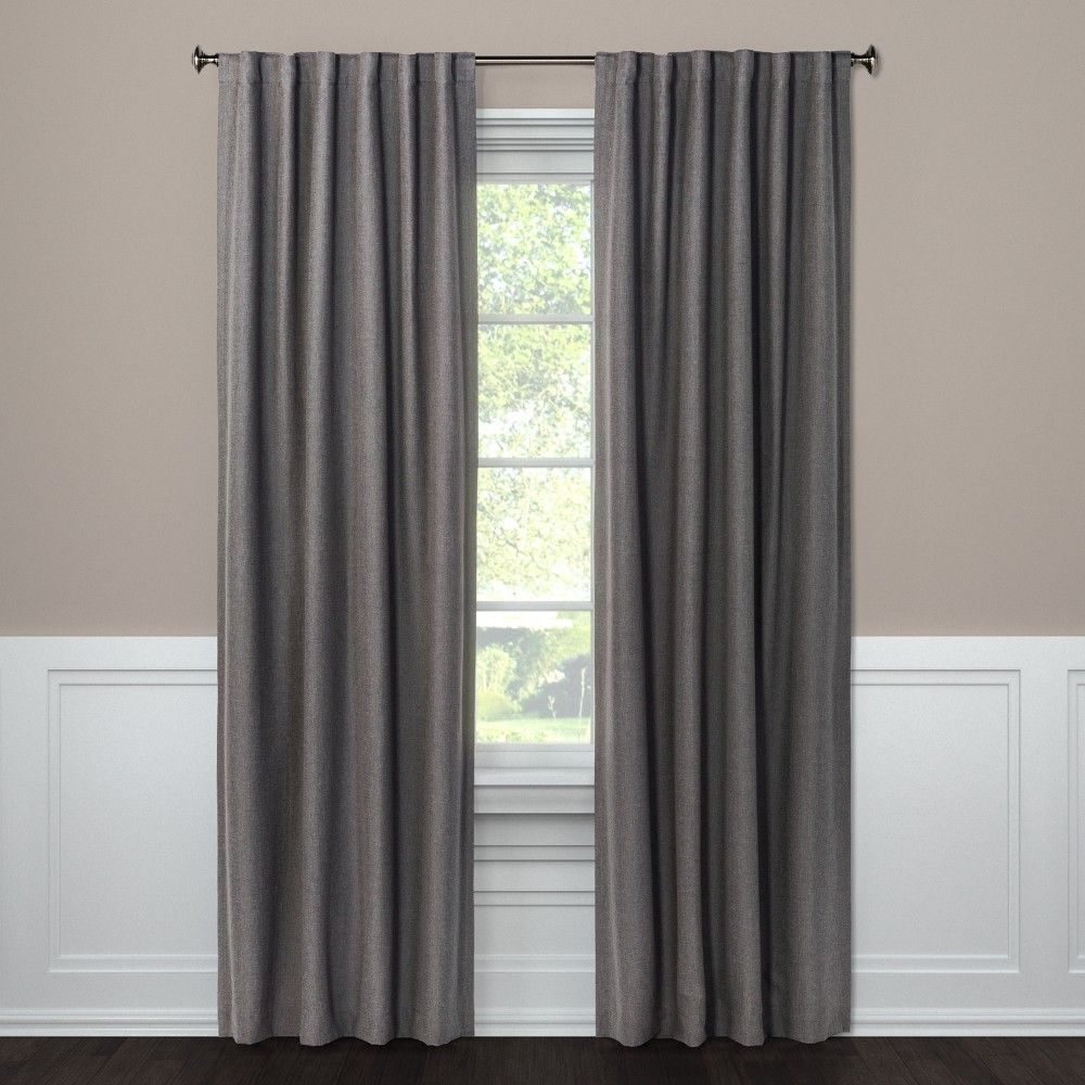 Blackout Curtain Panel Aruba Charcoal Gray 95 Threshold