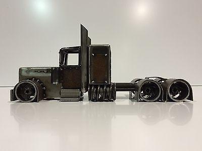 S Metal Art Peterbilt Rig Semi Truck Rusty Wall Desk Steampunk