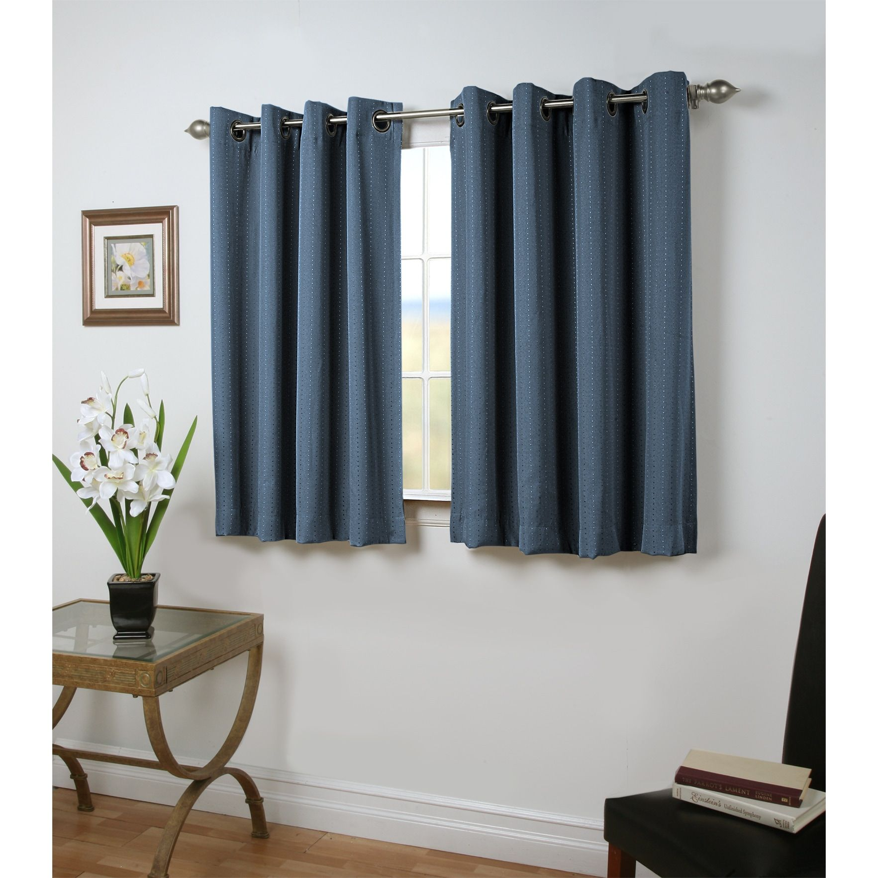 Bedroom Curtains Room Darkening Grand Pointe 45 Inch Length Short Grommet Blackout Panel