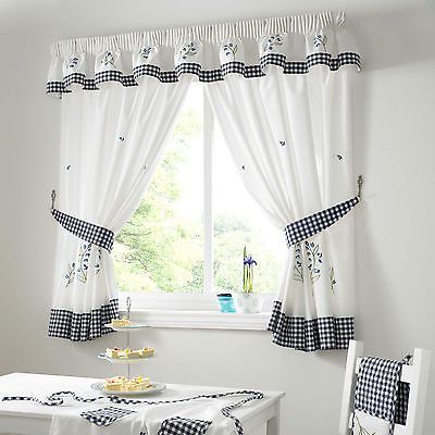 Kitchen Curtain Sets Bluebell Gingham Kitchen Curtains Blue